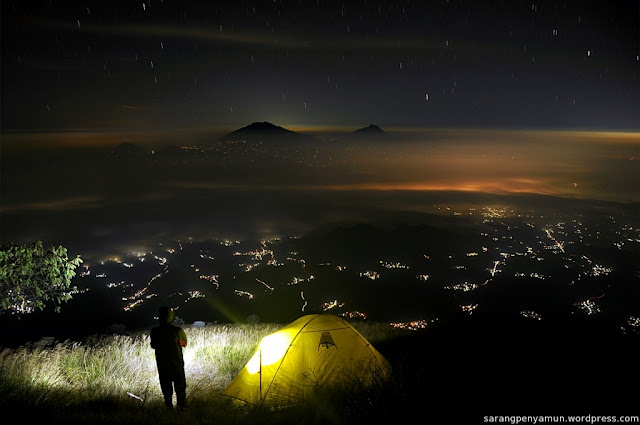 Wonderful night scenery from Indonesia mountains