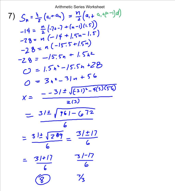 Mr Flanagan S Class Arithmetic Series Worksheet