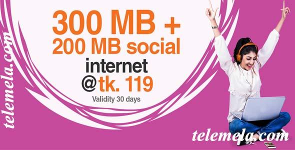 banglalink 300MB + 200MB Social internet 119tk