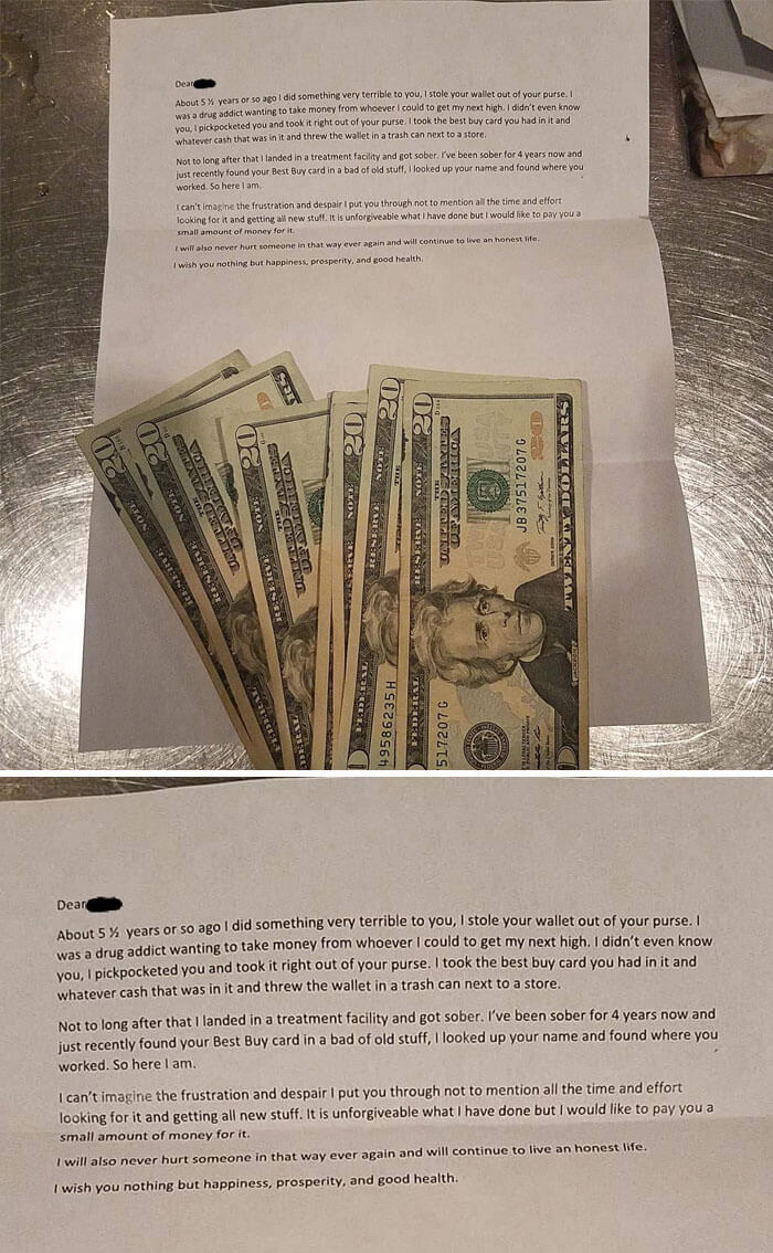 30 Heartwarming Photos That Restored Our Faith In Humanity - Drug Addict Returns Stolen Money 5 Years Later