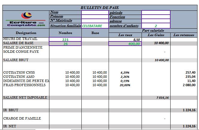 exemple Bulletin de paie excel maroc