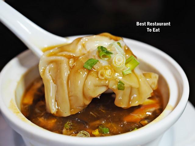 Summer Palace Dim Sum Set Lunch Menu - Braised Hot & Sour Szechuan Soup With Prawn Dumpling