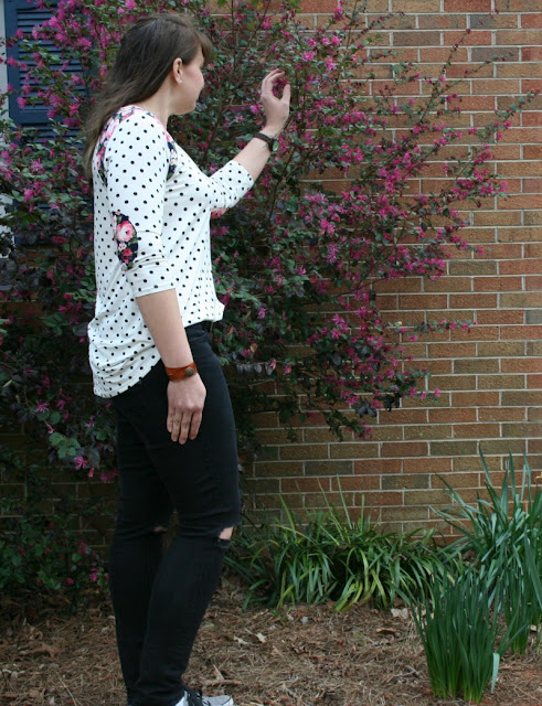 Show off your sporty side with a mixed pattern baseball tee!