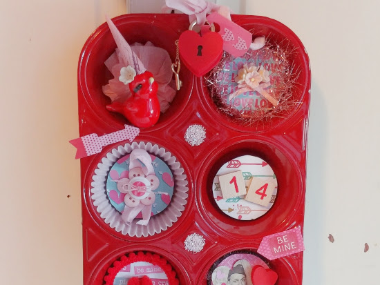 Altered Valentine's Day Muffin Tin