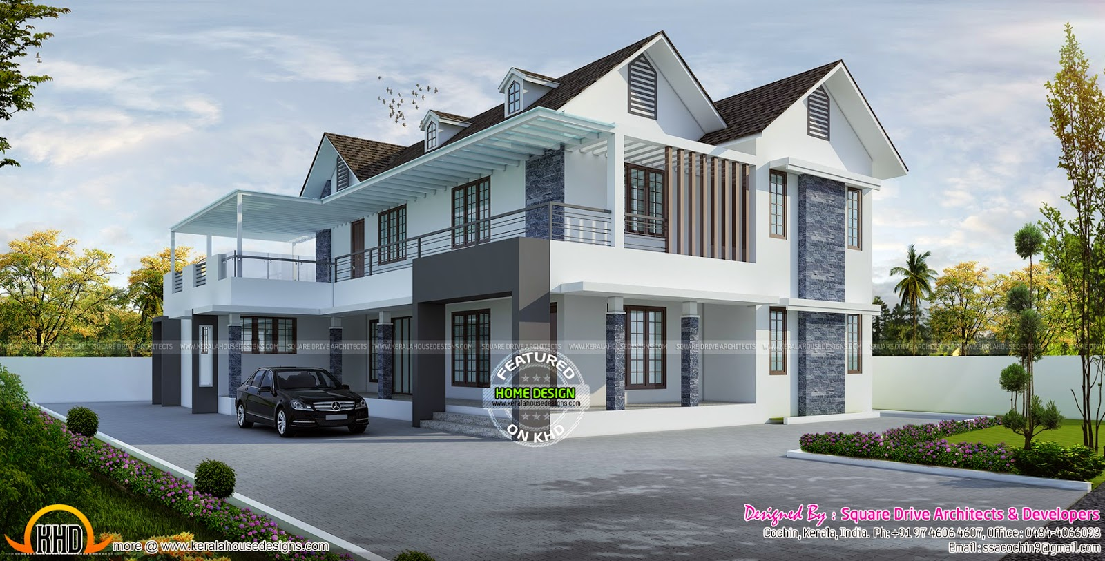 Front Elevation Slanting Roof Design : March kerala home design and floor plans