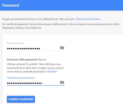 Come cambiare la password di google