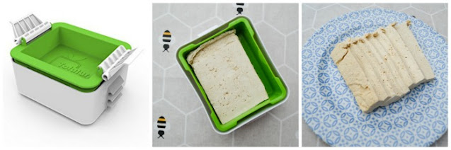 Photos showing tofu being pressed in a tofu press then sliced