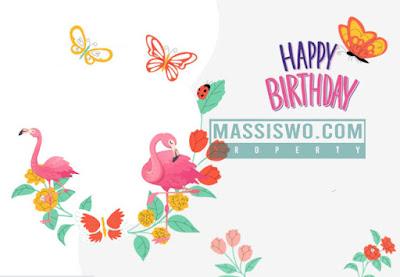 Background kartu ulang tahun tema burung