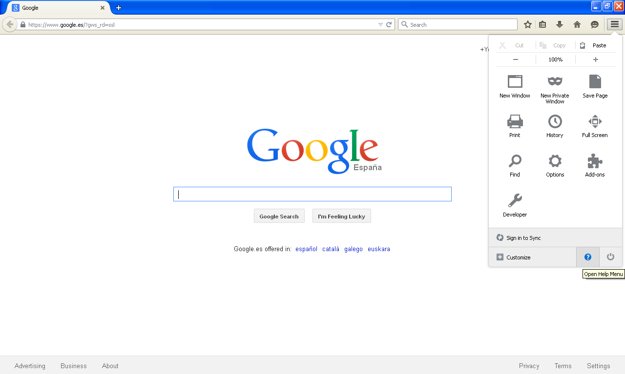 Mozilla Firefox menu