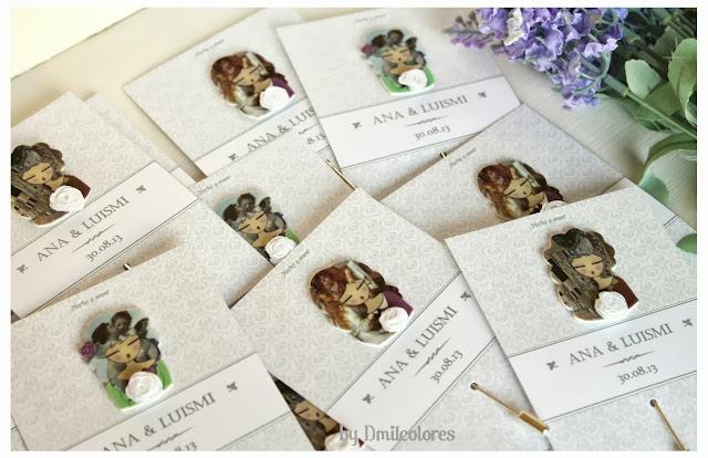 Alfileres ilustrados muñecas para boda