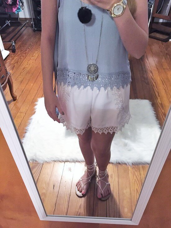 white crochet trim shorts outfit of the day