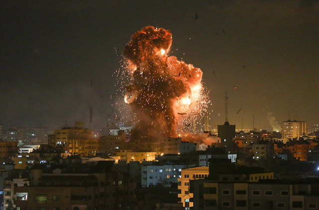 The airstrike on Al-Aqsa TV station tonight in Gaza