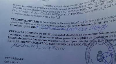 SARWER DENUNCIA AL GOBERNADOR CORNEJO