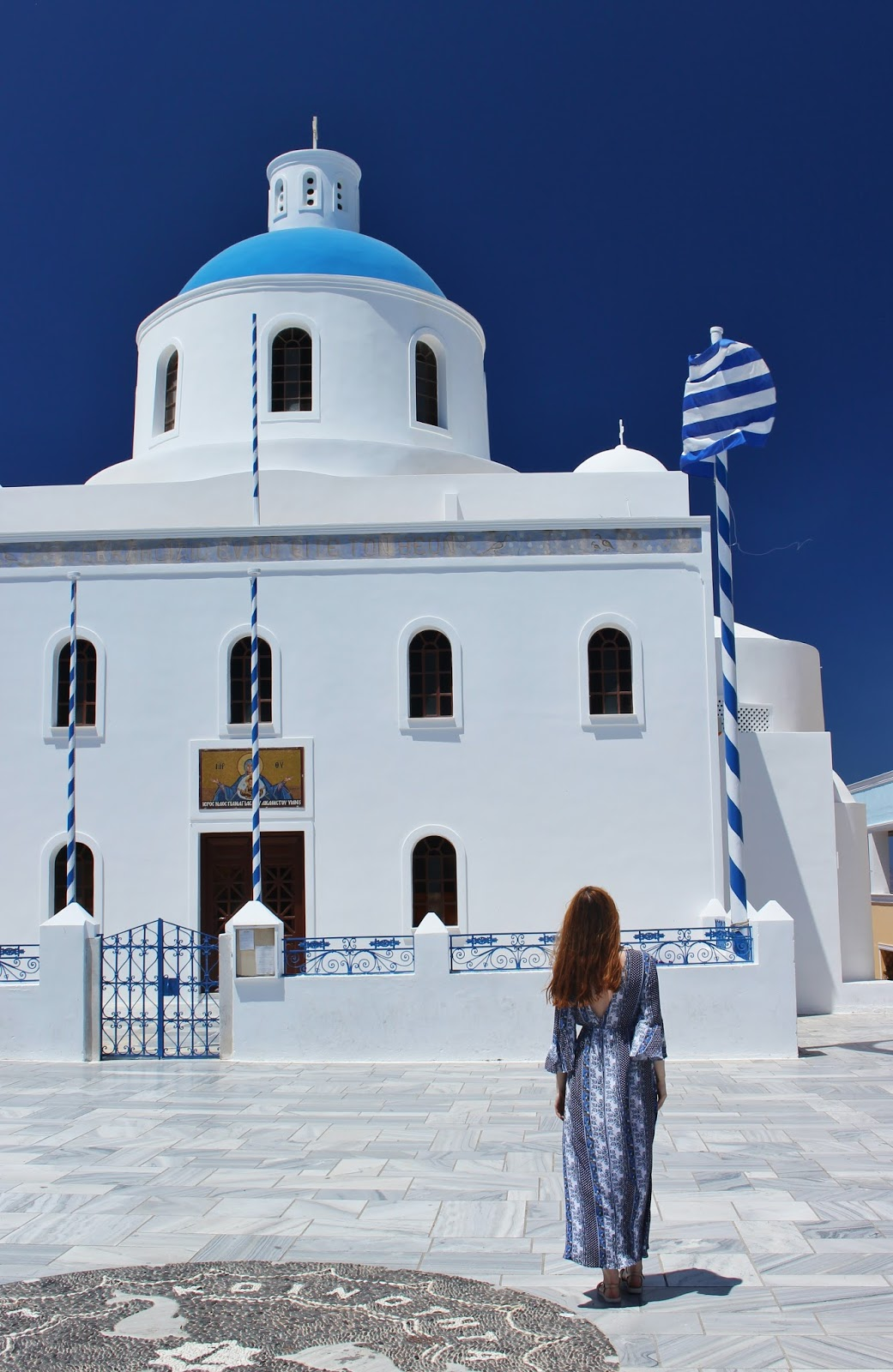 greece, lucie srbová, česká blogerka, blogerka, santorini, blue dress