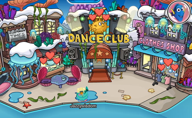 Jazzy on Club Penguin: Finding Dory Party 2