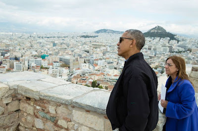 President Obama speaking in Athens, Greece, the birthplace of democracy