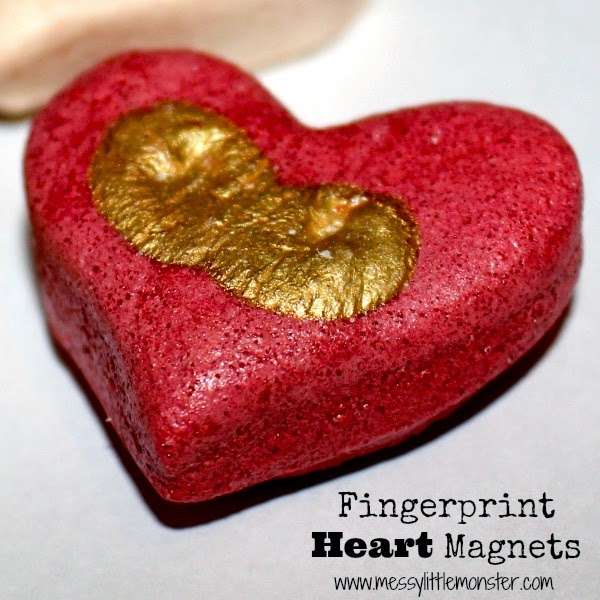 Salt dough fingerprint heart magnet made from salt dough. An easy Valentine's Day heart craft for toddlers and preschoolers. A great kid made gift idea for mothers day too!