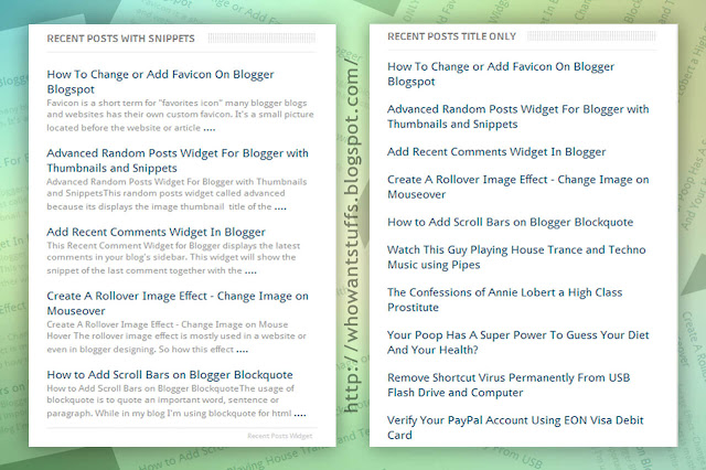 Simple Recent Posts Widget For Blogger Blogspot