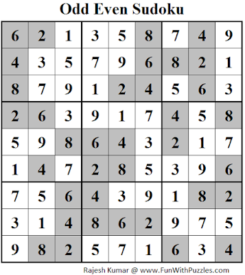 Odd Even Sudoku (Fun With Sudoku #132) Solution