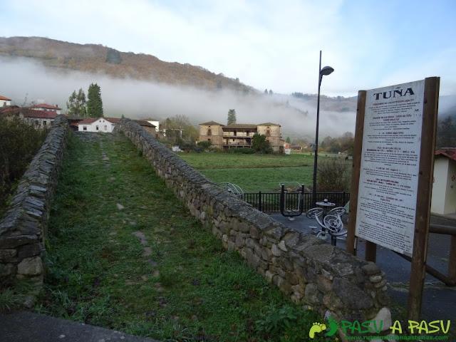 Dolmen de Merillés: Ponte de Carral con Tuña detrás