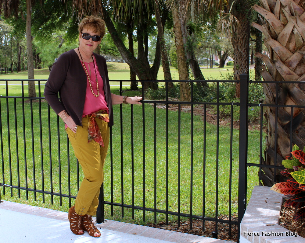 mustard pants, pink top, brown cardigan