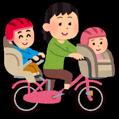 3人乗りするお母さんと子供達のイラスト