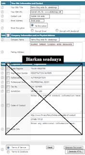 Cara membuat Disclaimer, Privacy Policy dan TOS untuk Blog