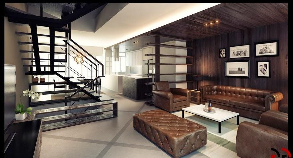 diseño de sala con escalera
