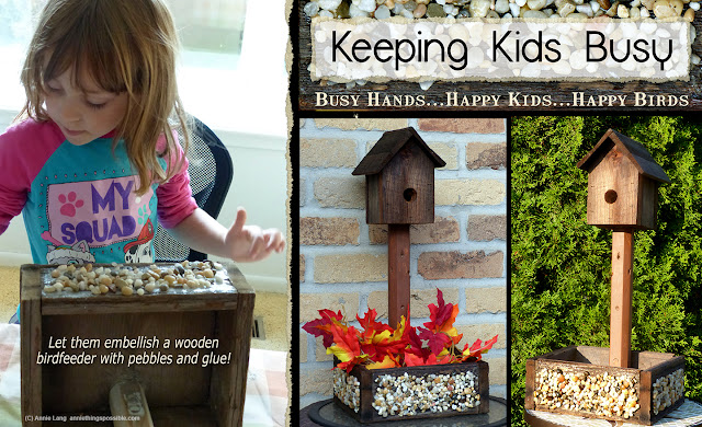 Annie Lang shares her preschool learning activity ideas for embellishing a wood birdhouse feeder surface with pebbles and glue