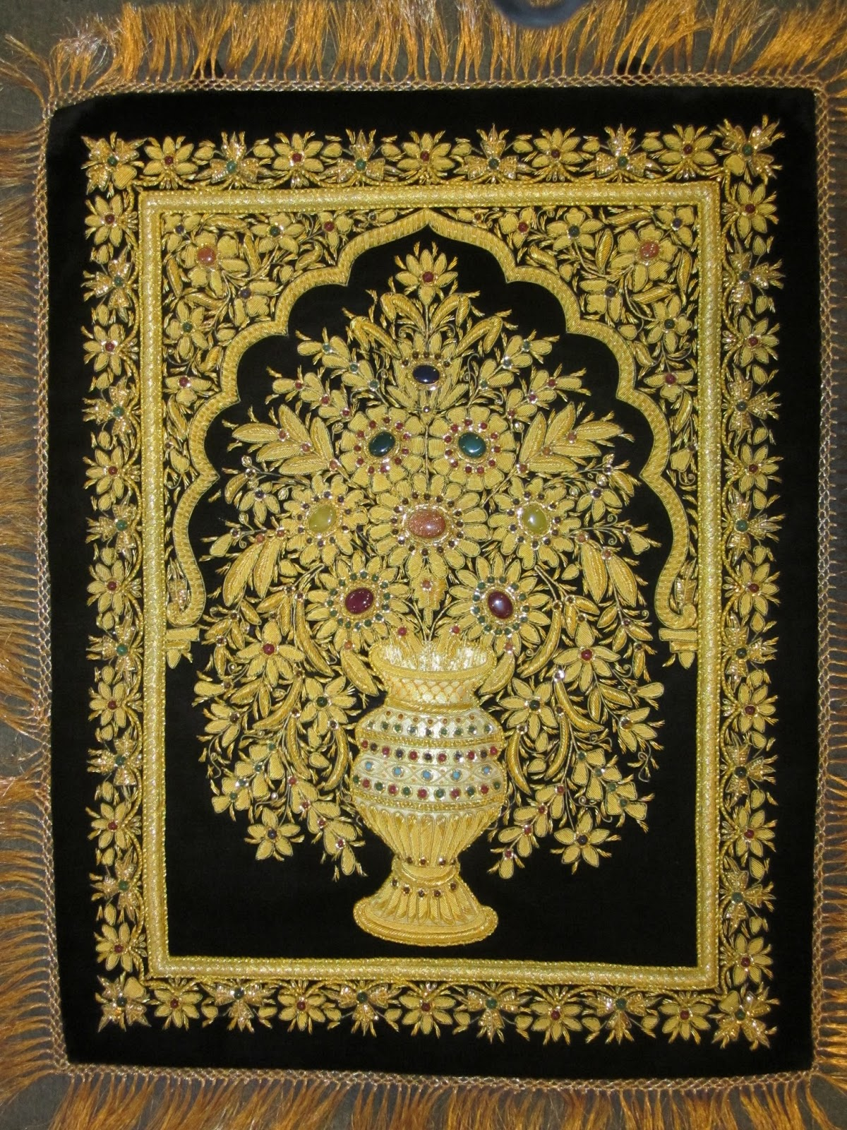 embroidery zari art and jewels carpets for wall hanging