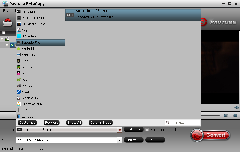 How to extract  srt subtitles from Blu-ray Disc/BDMV/BD ISO