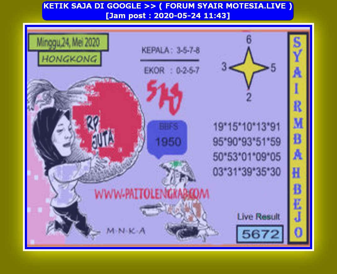 Kode syair Hongkong Minggu 24 Mei 2020 220