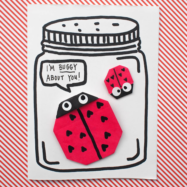 fold origami ladybugs for valentines day jar cards
