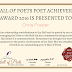 HALL OF POETS POET ACHIEVER'S AWARD 2016