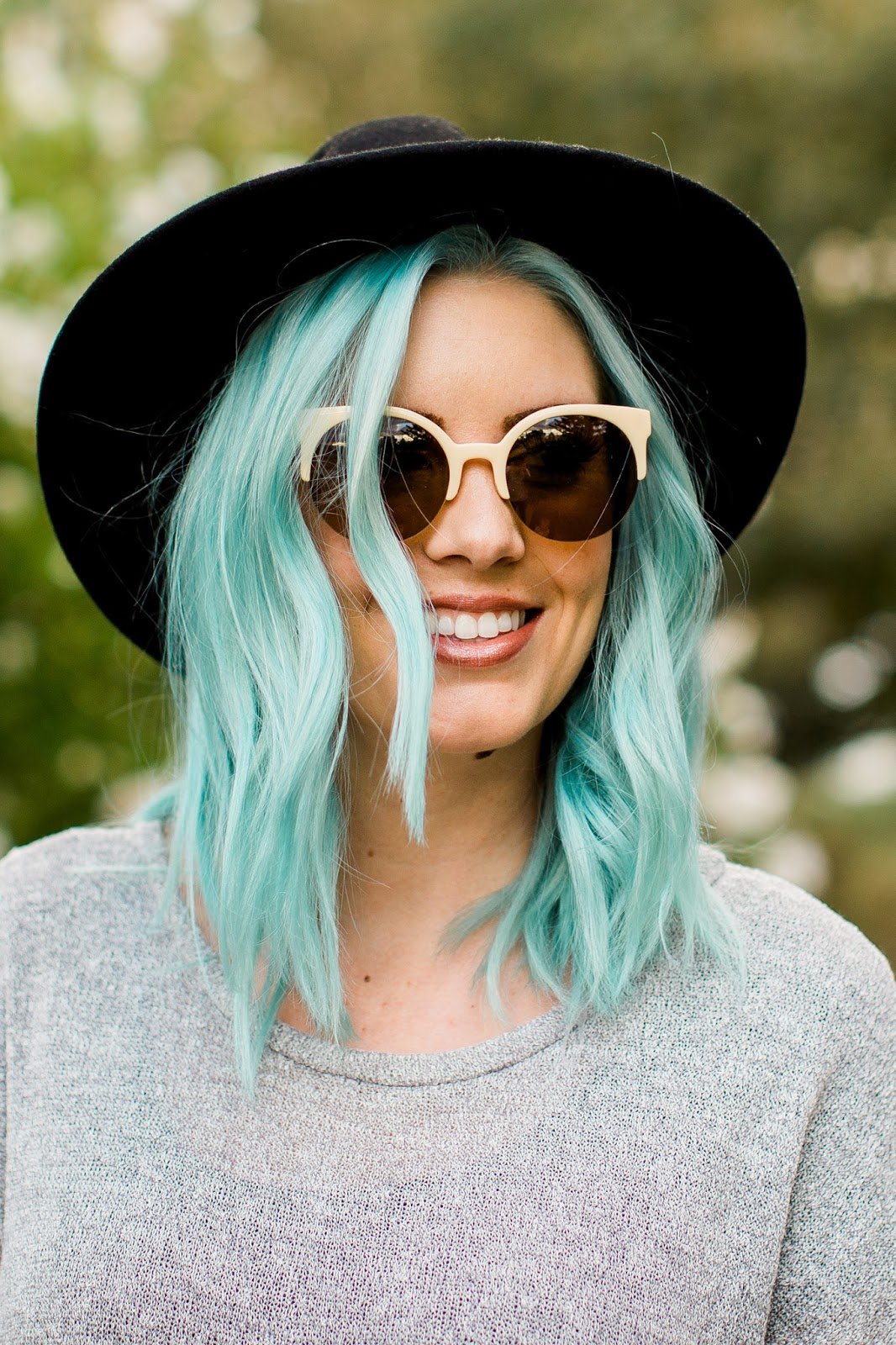 Black Hat, Cat Eye Sunglasses, Blue hair