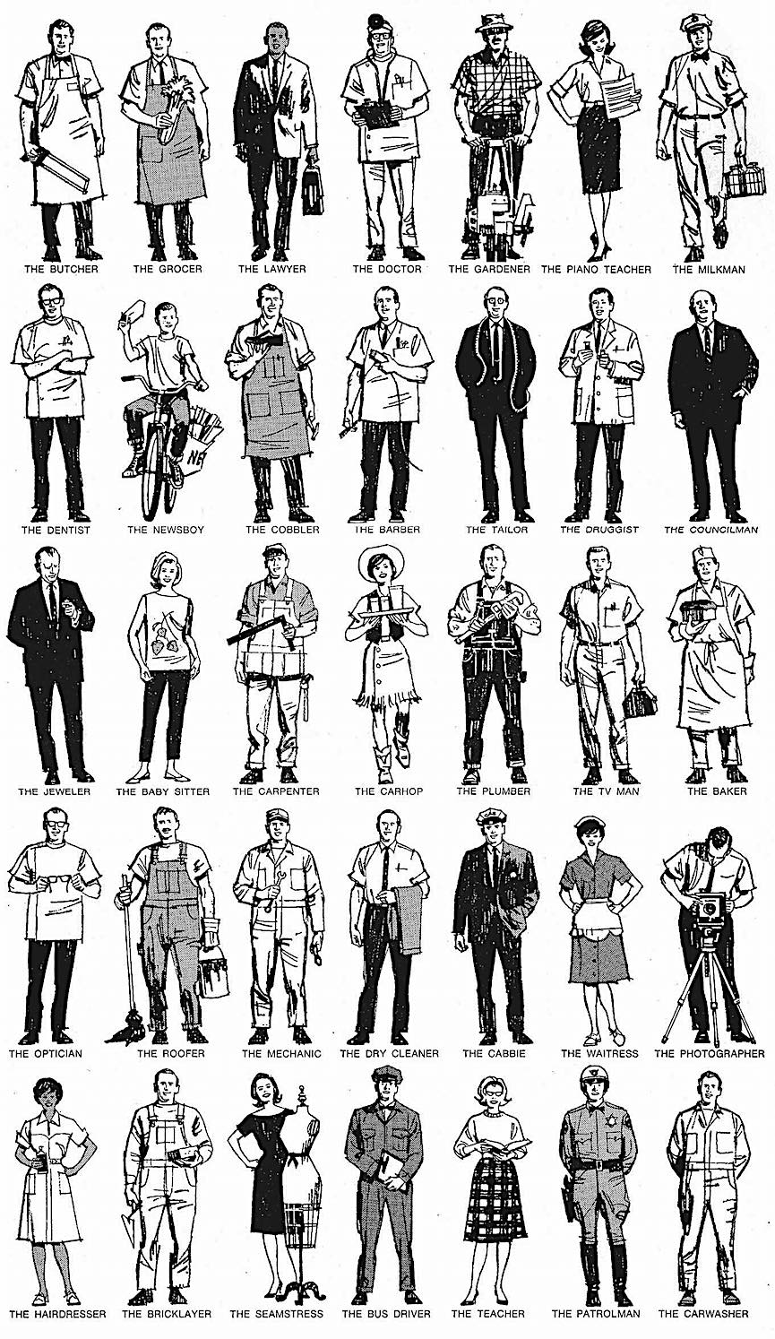 a Charlie Allen illustration of people in many different jobs and professions, in clothing uniform and costume