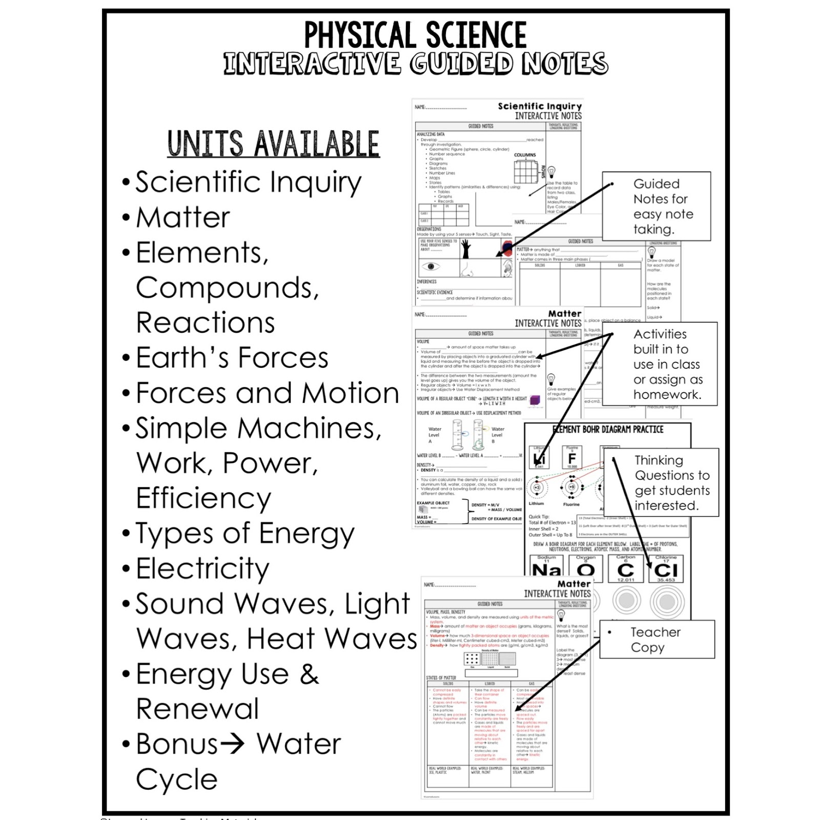 physical science interactive guided notes and powerpoints ngss next generation science standards google and