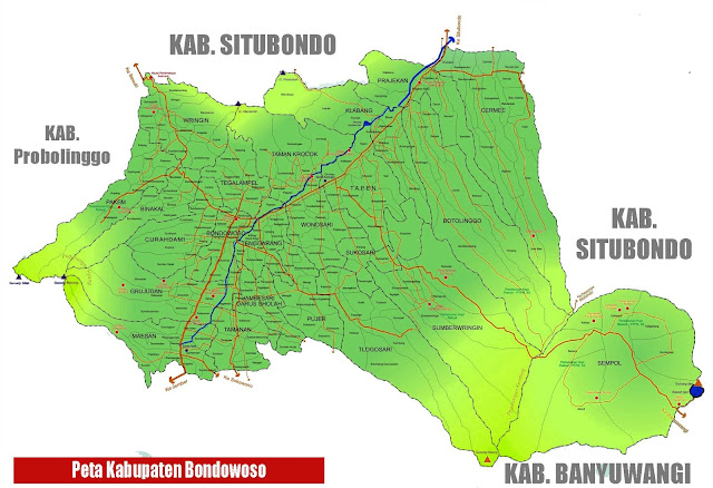 Gambar Peta Kabupaten Bondowoso lengkap nama kota