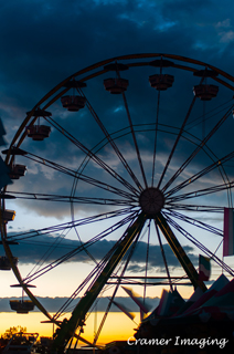 Cramer Imaging's professional quality fine art photograph of a ferris wheel silhouette against sunset at Eastern Idaho State Fair in Blackfoot, Bingham, Idaho