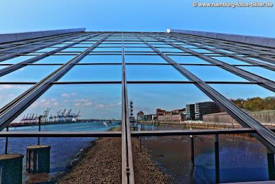 Dockland Hamburg auf dem Kopf mit Spiegelung vom Hafen