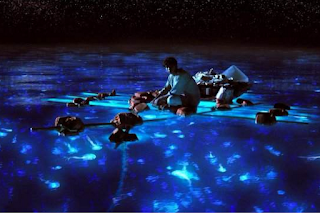Life of Pi, Suraj Sharma as Pi Patel, Directed by Ang Lee, Dark Blue Pacific expanse in the night