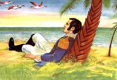 Dibujo de José de San Martín cuando soñaba y veía gaviotas de color rojo y blanco