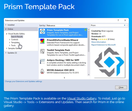 https://marketplace.visualstudio.com/items?itemName=BrianLagunas.PrismTemplatePack