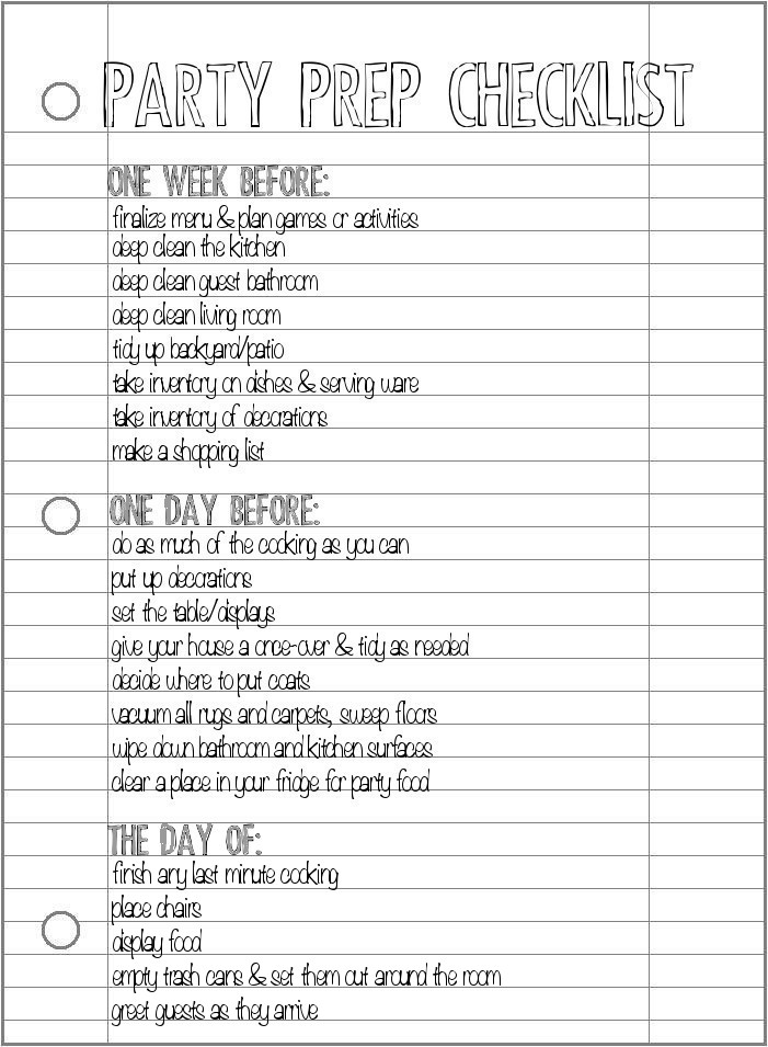 Party prep checklist pretty providence for Graduation party checklist template