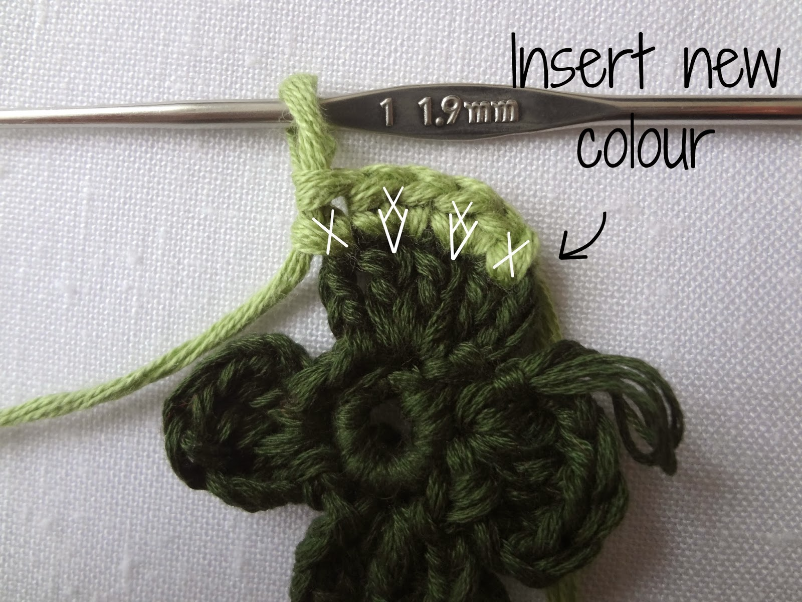 Heres the back of the shamrock. While you crochet, work over the ...