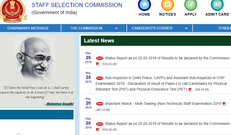 SSC CPO Result 2018