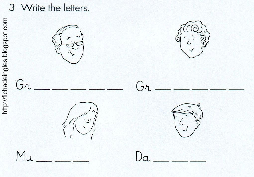 Fichas De Inglés Para Niños Worksheets About Family