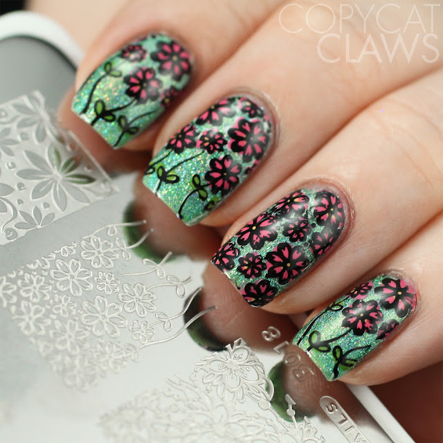 Whats Up Nails B018 Field of Flowers Stamping Plate