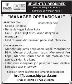 Lowongan Kerja PT. Buana Shipyard Indonesia