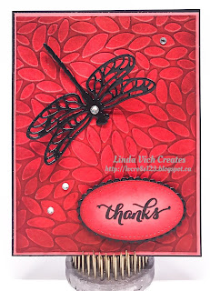 Linda Vich Creates: Dragonfly Thank You. Die cut dragonfly in shiny black adorns a Petal Burst embossed background of Watermelon Wonder on this vibrant thank you card.